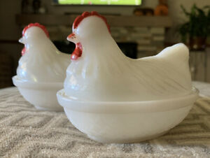 A Pair Of Vintage Indiana Glass Hens on Nests White Opaque Milk Glass