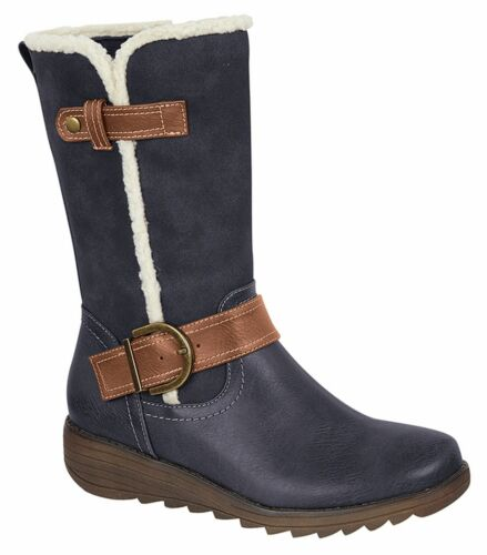 Ladies Womens Zip Boots Mid-Calf Felt Lined Memory Foam Shoes Size