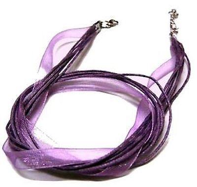 5 x Silk & Cotton Necklace Cords - Royal Purple - C0201