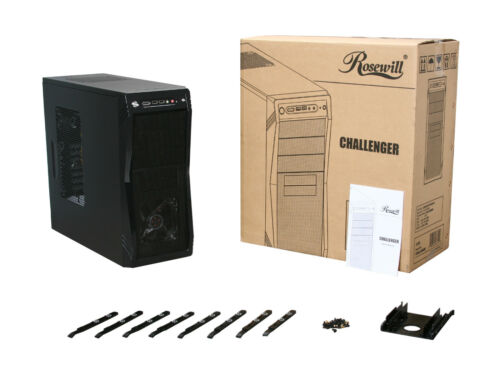 CHALLENGER ATX Mid Tower Blue LED Front Fan Rosewill Gaming Computer PC Case