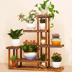 Image Is Loading Anti Corrosion Solid Wood 5tier Plant Stand Flower