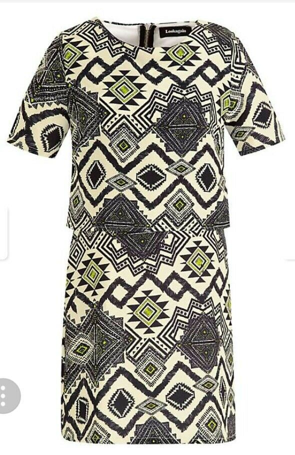 111LOOKAGAIN of Lime Aztec Jersey Overlay Dress by Look Again RRP  SIZE 10