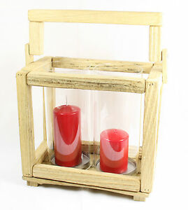 Pillar Candle Holder 52 cm High Wood /& Glass Candle Lantern with Handle