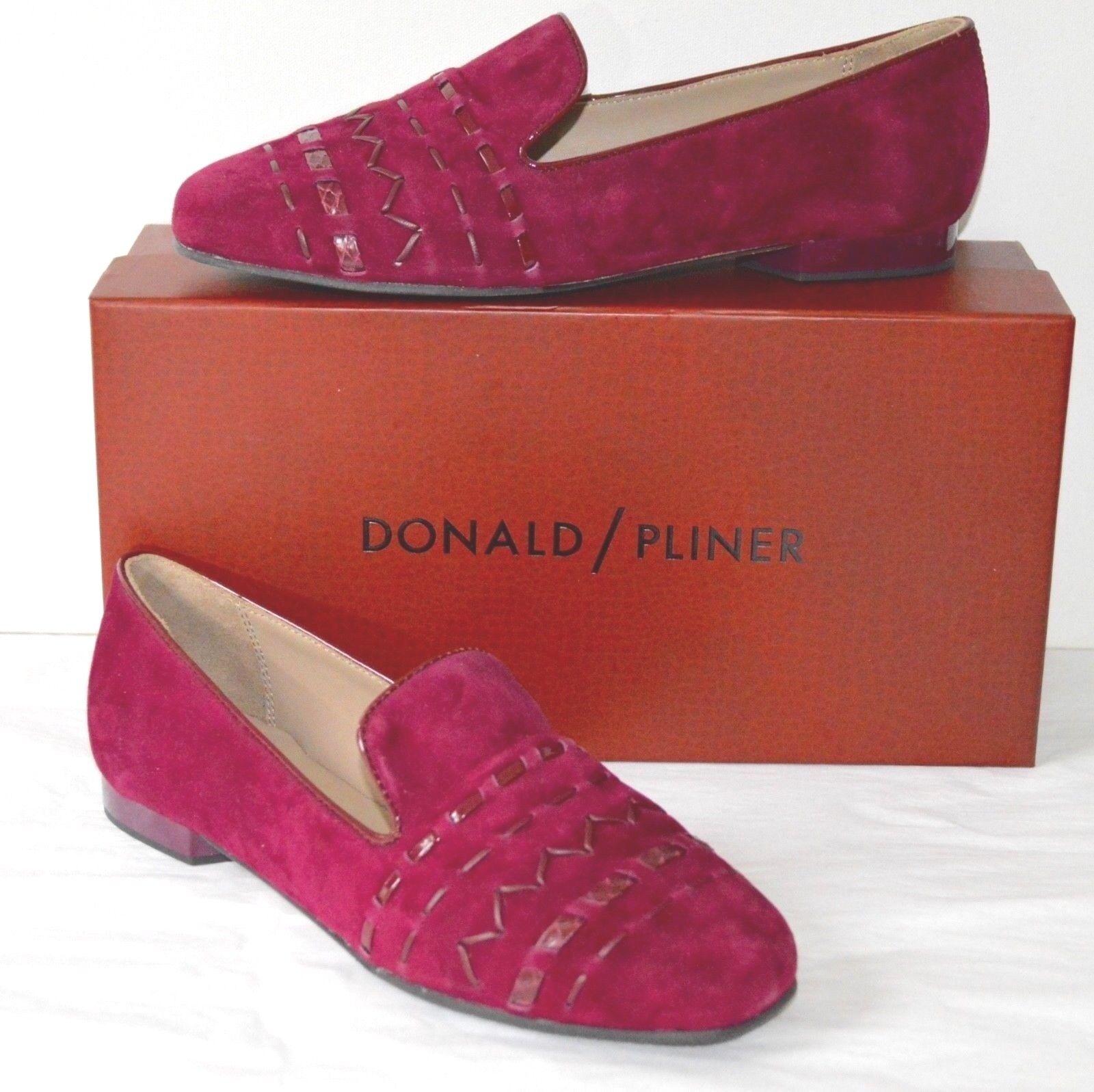 New  228 Donald J Pliner HAYLIE SPKS Kid Suede Weave Currant Rosso Flat Loafer