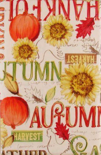 Feuilles d/'automne//mots//sentiments//citrouilles//Tournesols Vinyle Nappe Var Taille-CLR