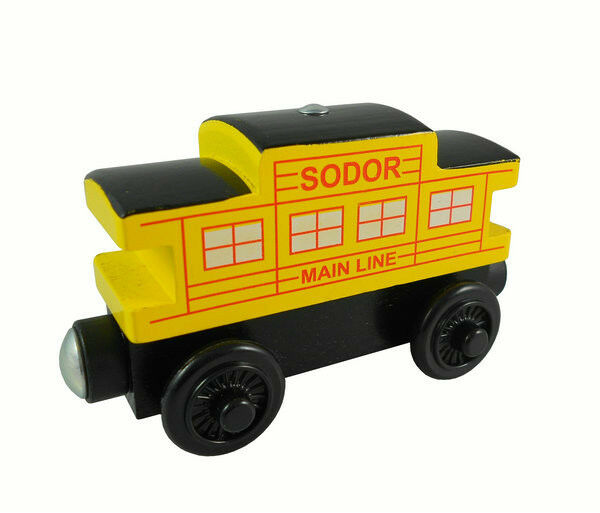 100% Original Sodor Main Line (4 Window) Yellow Caboose Rare Wooden TRAIN HC440B
