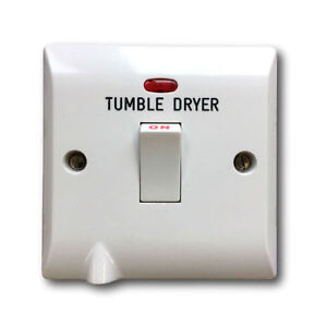 """Superswitch SW19TD Double Pole Switch with Neon 20 Amp engraved /""""TUMBLE DRYER/"""""""