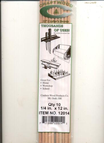 "- 12/"" Handi Craft Dowels hardwood Dowel Rods 1//4/"" .25/"" 10//pk"