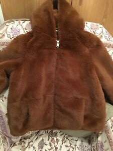 32d14d08 Details about Zara Brown Faux Fur Coat With Large Hood Bnwtags. Size Small