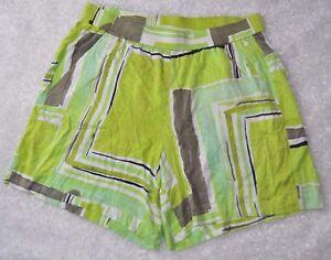 Lane-Bryant-Women-039-s-Green-White-Soft-Stretchy-Shorts-Elastic-Waist-Plus-Sz-26-28