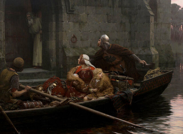 In Time of Peril Edmund Blair Leighton Boot Ritter Treppe Familie B A3 01470