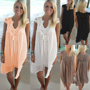 Women-039-s-Summer-Beach-Wear-Bikini-Cover-Up-Lace-Chiffon-Mini-Sun-Dress-Plus-Size
