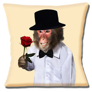 2f2200f2979 Monkey Cushion Cover Romantic Red Rose Top Hat Bow Tie Cream 16 inch ...
