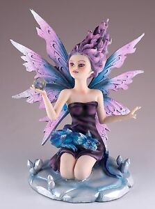 "Purple Wind Fairy With Dragon and Crystal Figurine 5.25"" High Detailed Resin NIB"
