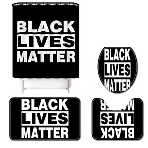 BLACK-LIVES-MATTER-Shower-Curtain-Bath-Rug-Bath-Mat-Non-Slip-Toilet-Lid-Cover