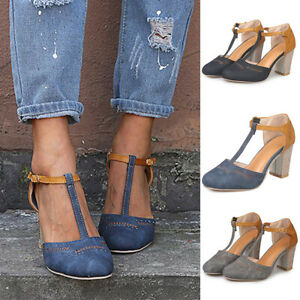 Women-039-s-Block-Heels-Ankle-Strap-Sandals-Ladies-Point-Toe-Work-Casual-Shoes-Size