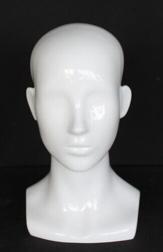 13 in H Female Head Mannequin Bust Form Display Mannequin Glossy White  MH53-GW