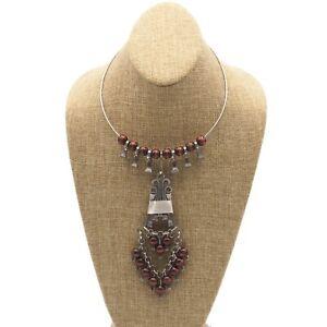 Vintage-Estate-Horseshoe-Nail-Wooden-Bead-Bib-Choker-Statement-Necklace-17-Inch