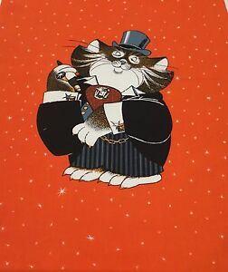 Fancy Cat in Top Hat Fabric Panel 175 x 15 inch Craft sewing - <span itemprop=availableAtOrFrom>Huddersfield, United Kingdom</span> - Fancy Cat in Top Hat Fabric Panel 175 x 15 inch Craft sewing - Huddersfield, United Kingdom