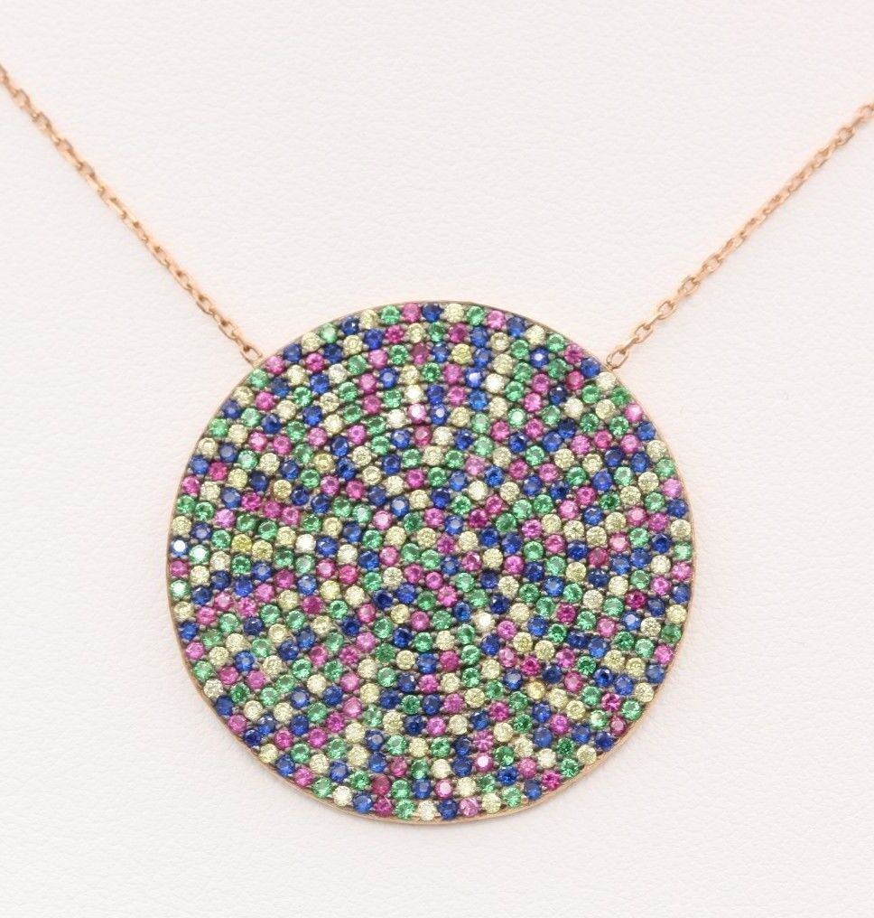 BRILLIANT CIRCLE  EYE PENDANT GREAT GIFT UNIQUE RAINBOW COLORS PLATE