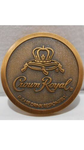 1 Crown Royal Apple Whisky Token Thick Bronze Brass Coin In Original Mint Bag