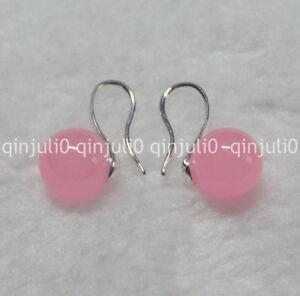 Natural-10mm-round-Pink-Jade-gemstone-Beads-silver-Hook-Dangle-Earrings-JE91