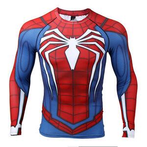 89c2ce729b3 La foto se está cargando Spider-Man-insomne-PS4-Camisa -Gimnasio-de-compresion-