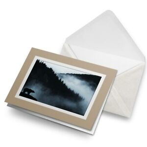 Greetings-Card-Biege-Misty-Mountain-Bear-Wild-Forest-14890