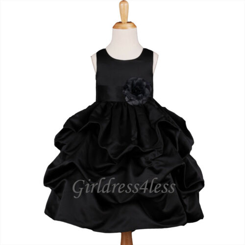 BLACK FORMAL OCCCASION PICKUP FLOWER GIRL DRESS 6M 9M 12M 18M 2 4 6 8 10 12