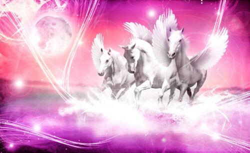 -Pegasus Blau Weiß Weltall Universum Design Collage 589 VLIES Fototapete-PFERDE-