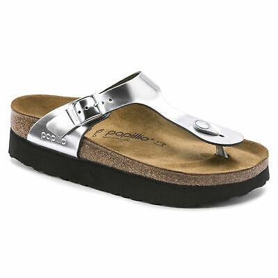 Birkenstock Womens Gizeh Papillio Metallic Silver Sandals Shoes | eBay