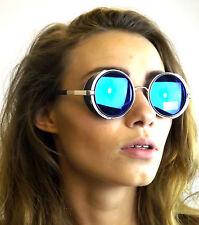 Occhiali DA SOLE NUOVI Vittoriano Steampunk Cyber Fantasy Mondo Chrome Occhiali lente blu