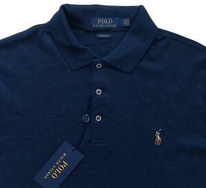 Men's RALPH LAUREN Heather Blue Long Sleeve POLO Shirt XXL NWT Classic Fit