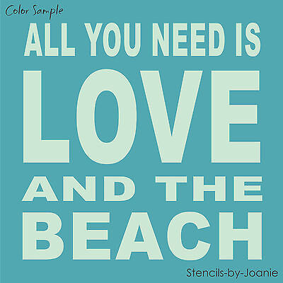 STENCIL All You Need Is LOVE BEACH Block Lettering Typography Art Subway Sign