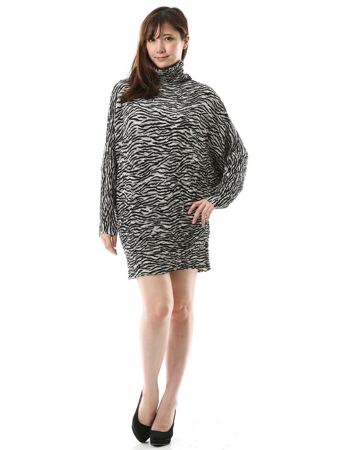 Cut voile fabric Pleated schwarz & Off-Weiß zebra print tunic top damen Loose fit