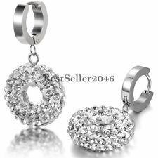 Stainless Steel Hinged Huggies Hoop Shiny Round Drop Dangle Earrings Womens Gift