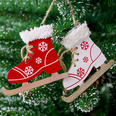 1PC  Snowflake Pattern Wooden Sleds Boots Christmas Xmas Tree Hanging Pendant I