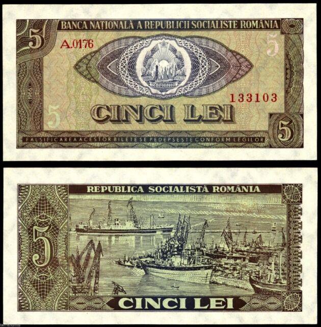 ROMANIA 5 LEI 1966 BANKNOTE P#93 UNC