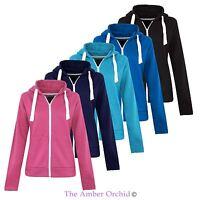 Ladies Womens Plus Sizes Plain Zip Hoodie Zip Top Hooded Sweatshirt Hoody Jacket