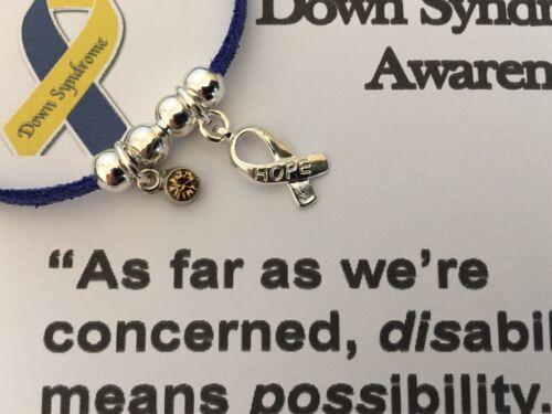 Pulsera Ajustable-la conciencia Síndrome de Down Pulsera De Gamuza