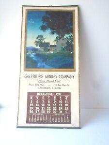 Vtg 1937 Galesburg MINING Company Calendar MAXFIELD Parrish Print Twilight Flaws