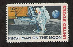 USA-NASA-Apollo-11-First-Man-on-the-Moon-1969-10-cent-stamp-Scott-039-s-C76