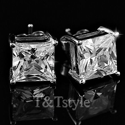 T/&T 8mm Clear CZ Square Stud Earrings NEW ES08