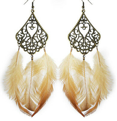 F1396 fashion Feather charm circle chain cute dangle chandelier earrings jewelry