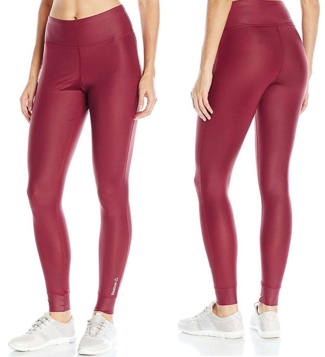 Reebok donna Studio Lux Regular Fit Polyester Sports Gym Leggings nuovo