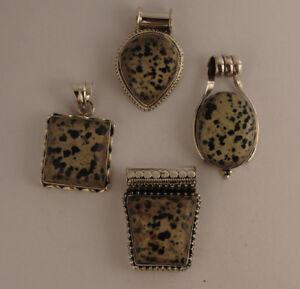 Dalmatiner-Jaspis-Anhaenger-in-925-Sterlingsilber-Edelstein-Anhaenger-in-Silber