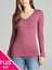 Women-PLUS-Long-Sleeve-V-NECK-T-Shirt-Active-Basic-Cotton-Layering-1XL-2XL-3XL thumbnail 7