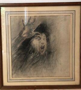 The-Comedian-Henri-Leriche-1868-1944-Drawing-Antique