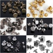 RUBYCA Flat Round Metal Studs Spikes Spots Screws Silver Black Gold Leathercraft