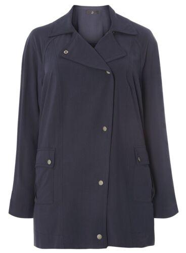 Neuf femmes ex Evans plus taille bleu marine doux veste manteau mac taille 14-32